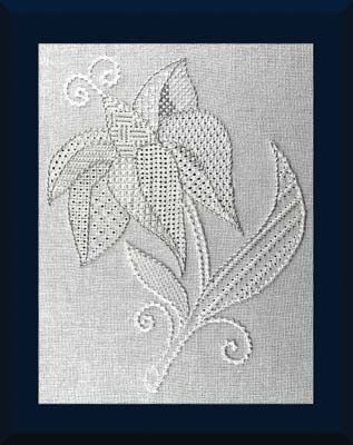 "Lily White is stitched with a pulled thread technique, using the tension of the stitches to form gaps, create lacy areas, and is usually worked with white thread on white fabric.  Design area is 5.5"" x 7"" on a 12"" square fabric piece.   #stitching #needlework #embroidery"