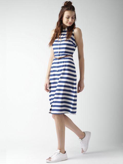 Buy Mast & Harbour Navy Blue & White Striped Shirt Dress - - Apparel for  Women