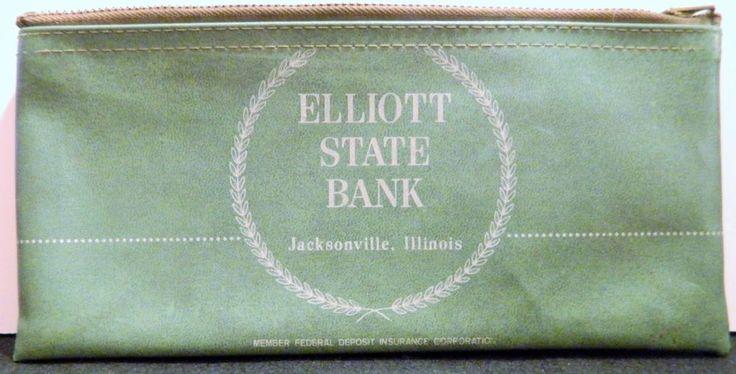 Vintage Bank Deposit Zip Top Bag Elliott State Bank Jacksonville, IL A Rifkin Co