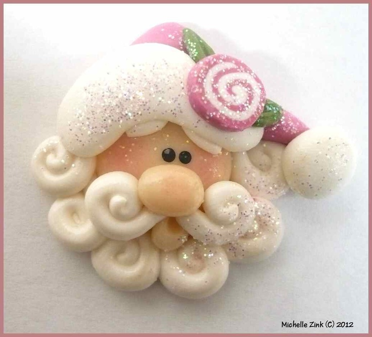 NEW Polymer Clay Bead or Bow Center Jellyroll Rose Santa Face. $3.50, via Etsy.