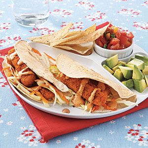 FISH STICKS TACOS: 1 11-oz. box frozen breaded fish sticks  1/2 teaspoon chili powder  5 cups coleslaw mix (cabbage and carrots)  1/4 cup reduced-fat mayonnaise $  2 tablespoons lime juice  1/4 teaspoon chopped seeded canned chipotle chili in adobo  Salt  8 5 1/2-inch corn tortillas, warmed  1 cup tomato salsa: Dinner, Stick Tacos, Food, Recipes, Sticks, Tacos Recipe