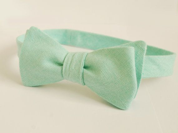 Mint Linen Self Tie Bow Tie  Pastel Wedding Bow Ties by Adatele