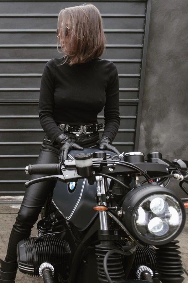 Hot girl with a Custom 1978 BMW R 45 Cafe Racer – …