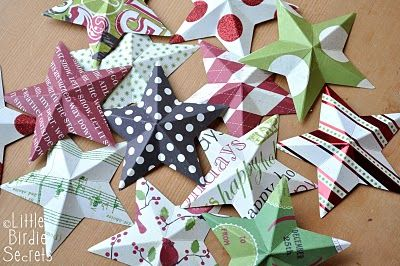 Paper star wreath tutorial. Recycle Christmas cards. | Little Birdie Secrets