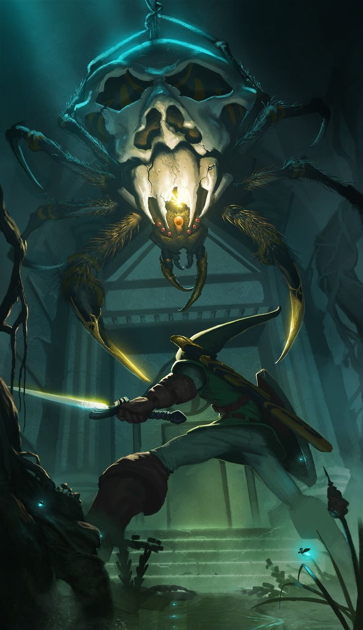 Adult Link in the Forest Temple fighting a Skulltula - The Legend of Zelda: Ocarina of Time