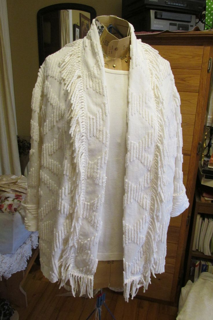 Light Jacket Upcycled From Vintage Chenille Bedspread