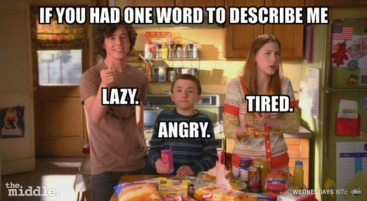 ABC - The middle : Mom is... lazy, angry, tired. loved this episode