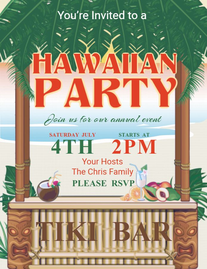 hawaiian party invitation flyer poster template luau party flyers