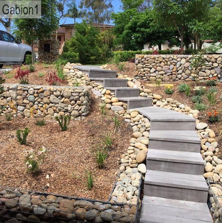 gabion lined garden steps http://www.gabion1.com