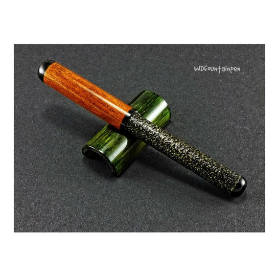 Brass fountain pen brass and wood ebonite by WDFOUNTAINPEN on Etsy