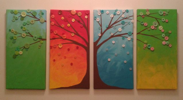 Awesome Four Seasons Tree Button Canvas Art