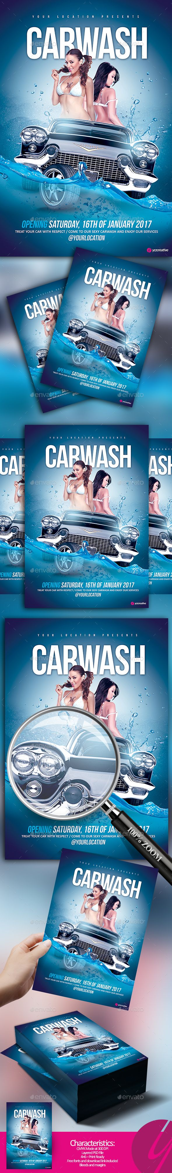 Car Wash Flyer — Photoshop PSD #topless #booth • Download ➝ https://graphicriver.net/item/car-wash-flyer/19189929?ref=pxcr
