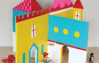 Molde de Castelo de Papelão para Brincadeira Infantil