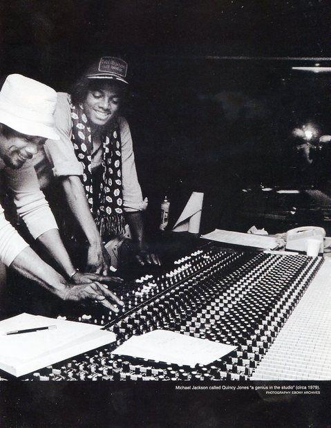Quincy Jones and Michael Jackson recording at the studio