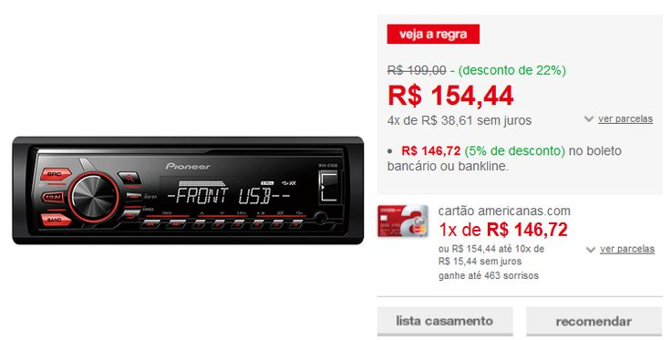 Som Automotivo Pioneer MVH-078UB com Entradas USB/Aux Interface Android << R$ 13410 >>