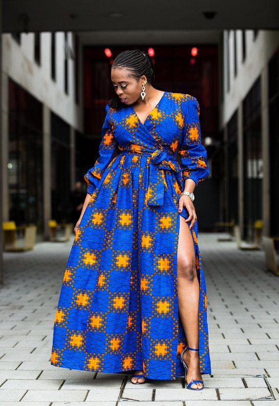 Ankara Dress With Back Zipper And Two Side Pockets And A Self Tie Belt This Item Is Handmade