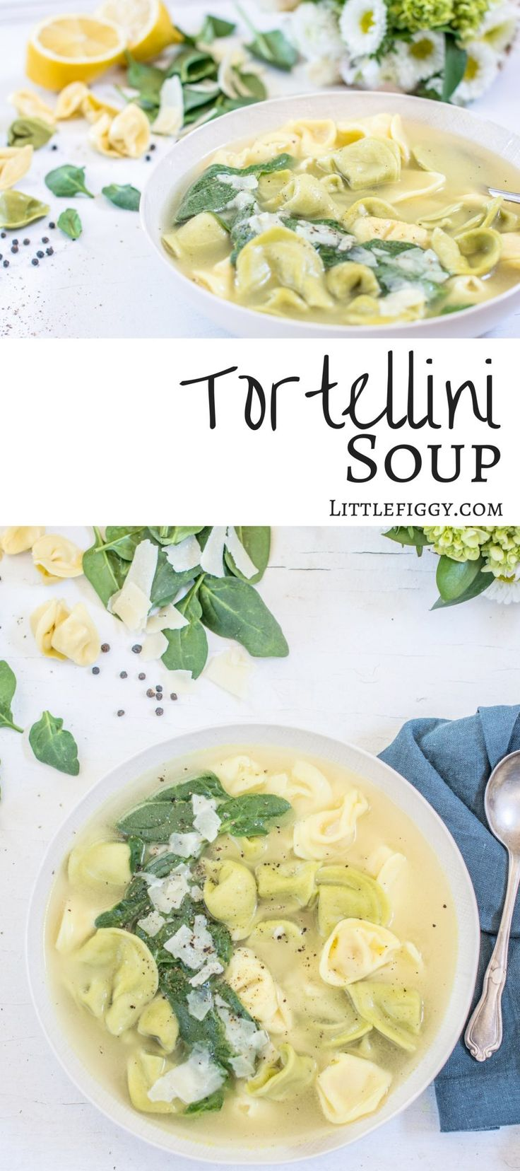 Try this brightly flavored spinach and Tortellini Soup, so easy to make and perfect for entertaining guests. Get the recipe at Little Figgy Food via @LittleFiggyFood