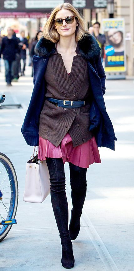 olivia palermo, pleated mini skirt, over the knee boots, belted sweater, cardigan, boyfriend cardigan, fur coat, fur scarf, coat with fur, sunglasses, winter fall layers, winter skirts, olivia palermo