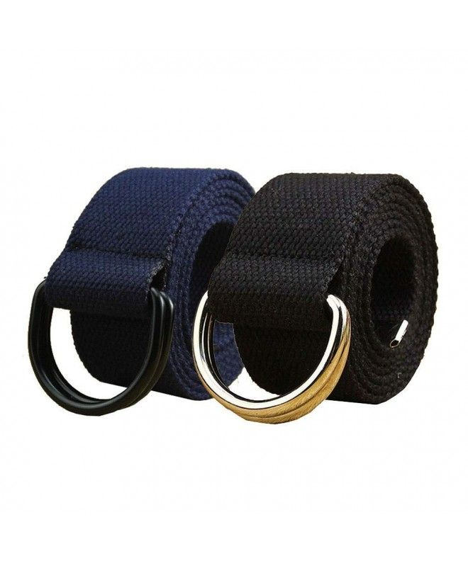 Women Men Canvas Web Belt Casual Military Jeans Belt Black Double D-ring Buckle