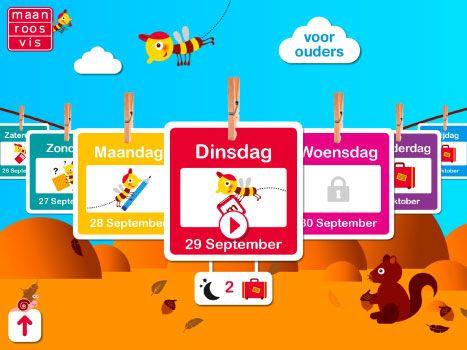 Maan roos vis kalenderapp – GRATIS app Doelgroep: Kinderen in groep 3 Wat leert je kind van deze app: * Dagen van de week * Structuur * Plannen