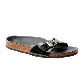 Gerade Sandalen Birkenstock Madrid Schwarz Lack Goldene Schnalle-Schuhgröße 38 gekauft: