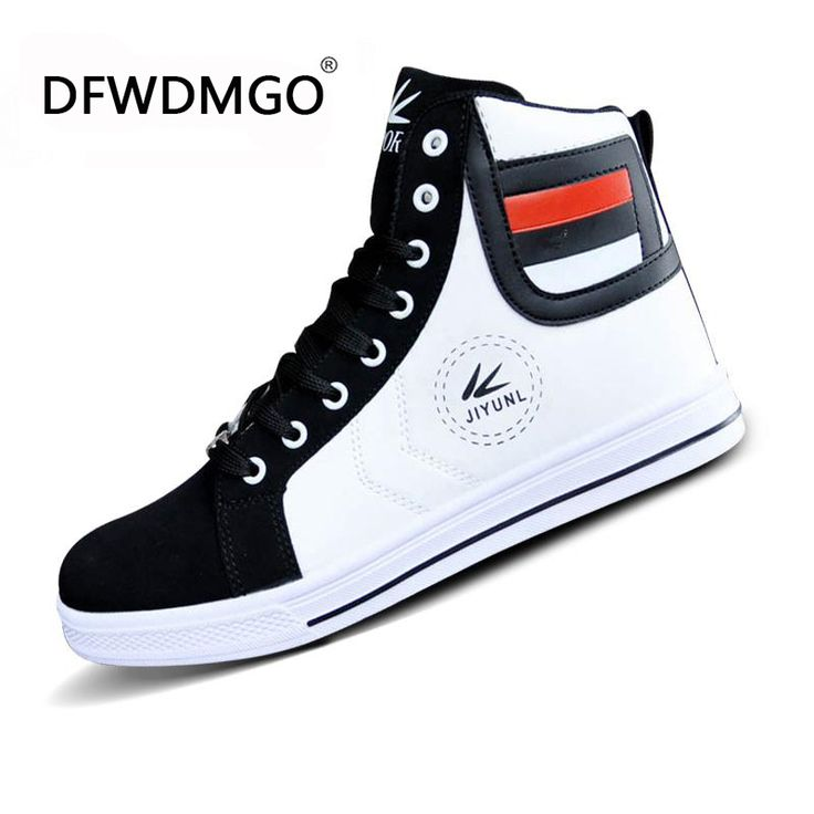 sale High Tops shoe For Men Casual Leather Boots Lace Up Black White Gold Color Usa Street Style Men Fashion shoes Size 39-44