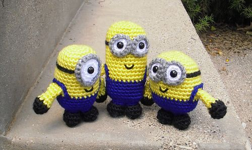 "This is a pattern for minions based on the movies Despicable Me and Minions. The minions are crocheted in the round from the top down and stand between 3.5"" and 5"" tall. Each minion is named after its counterpart in the movie. I wrote out the pattern so that anyone with a hook and some yarn can make their own army of minions, too. Enjoy!"
