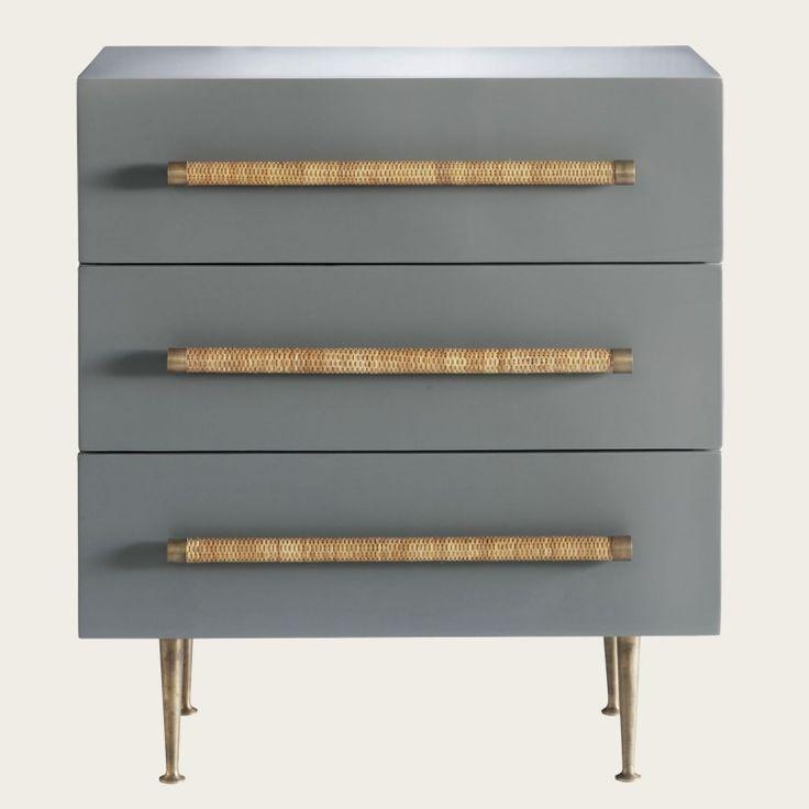 Chest with three drawers, wicker handles, brass trim & legs
