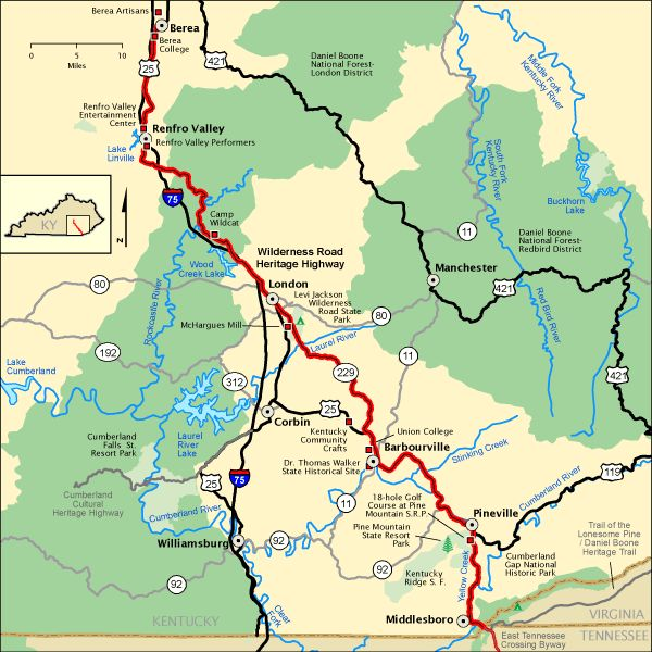 Wilderness Road Heritage Highway - Map | America's Byways