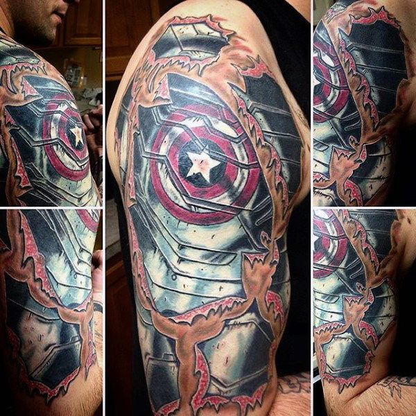 America Tattoo Sleeve 70 captain america tattoo designs for men ...