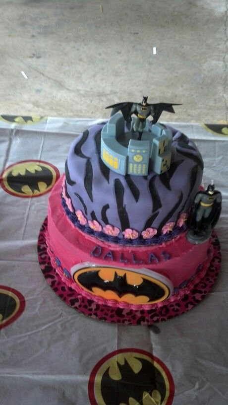 Pink Batman Cake With Flowers For A Girl Simply Cake