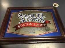 Vintage Samuel Adams Boston Lager Beer Bar Woden Framed Mirror Superb Condition