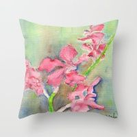 Throw Pillow featuring Red Orchid by Ewally