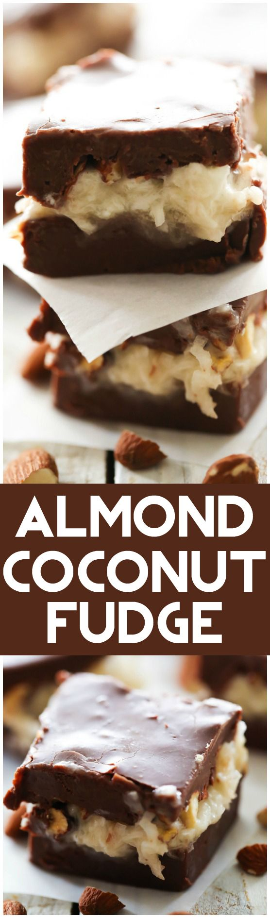 Almond Coconut Fudge... Rich smooth chocolate fudge filled with a delicious creamy coconut almond filling. This is sure to be a huge hit! It tastes like you are biting into a fudge version of Almond Joys!