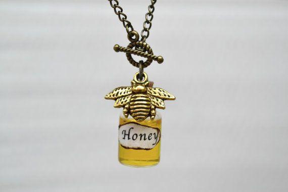 Collana di ape, miele collana, collana bottiglia, Bee fascino collana, collana di ape del miele, Queen Bee collana, Collana Boho, Hipster collana