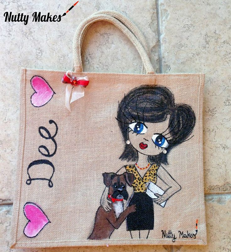 #Dee bag. Customised #jute with her #cute #boxer dog. #handmade and #handpainted by #nuttymakes http://www.facebook.com/nuttymakes