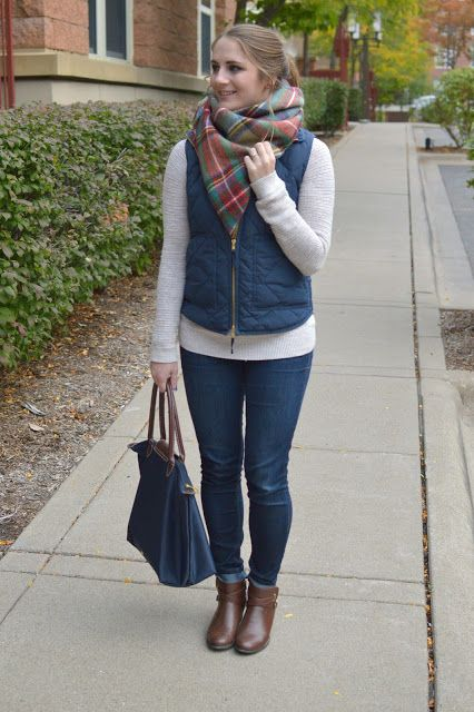 puffer vest with a blanket scarf (a memory of us.