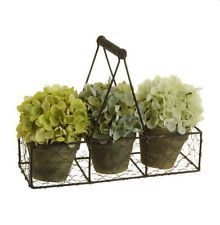 "Potted Hydrangeas in 11.5"" Chicken Wire Basket with Wood Handle 4 Piece Set"