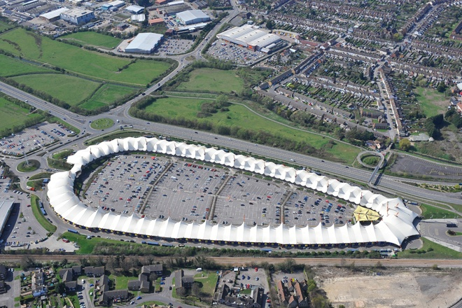 An aerial photograph of the unique outdoor Ashford Designer Outlet in Kent
