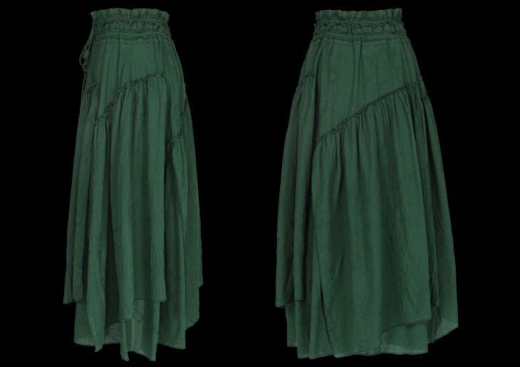 Юбки : Многослойная юбка в пол в стиле бохо тёмно-зелёного цвета