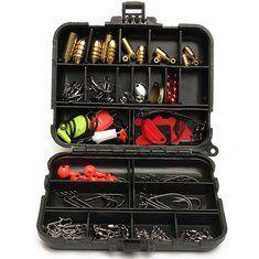 128 pesca iscas ganchos iscas tackle preto caixa completo armazenamento ferramenta case conjunto