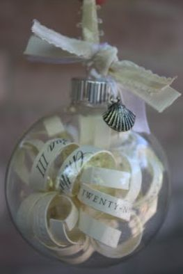 """""""Using wedding invites to make as ornament gifts. Super cute!!"""" Get some extra ornaments, clear, after Christmas during markdown time. Hold onto them and make some ornaments to give to couples after I have been to their wedding."""