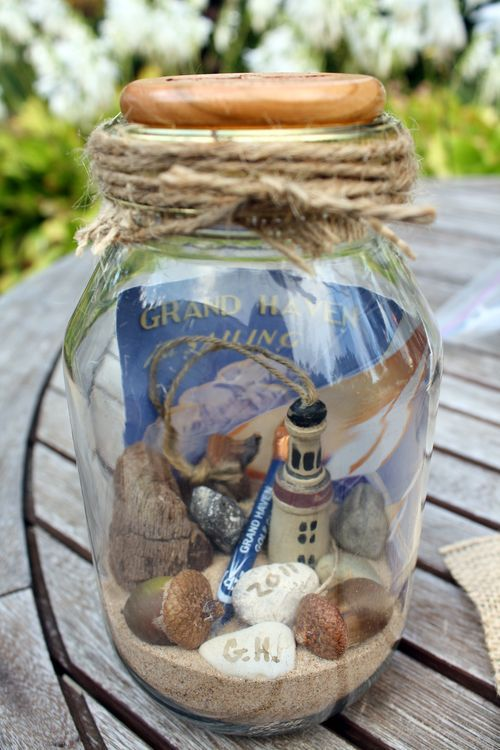 Memory mason jar: Add sand, shells, photos, & other keepsakes from a beach vacation.