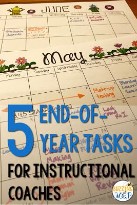 The end of the year can be overwhelming, and it seems that, as soon as you're done packing up one year, another year begins! Use the end of the year as a time to get the next year started with this five easy tasks. Buzzing with Ms. B: 5 End-of-Year Tasks for Instructional Coaches