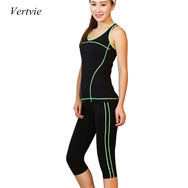 Vertvie 2 unidades mujeres yoga set camisa corta camisas + flaco Legging Pantalones Capri Deportes Juegos de Ropa Gimnasio Correr Fot Aptitud de Las Mujeres