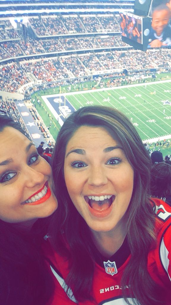 Jenna and Katie in Dallas.  Cowboys vs. Falcons 09/27/2015