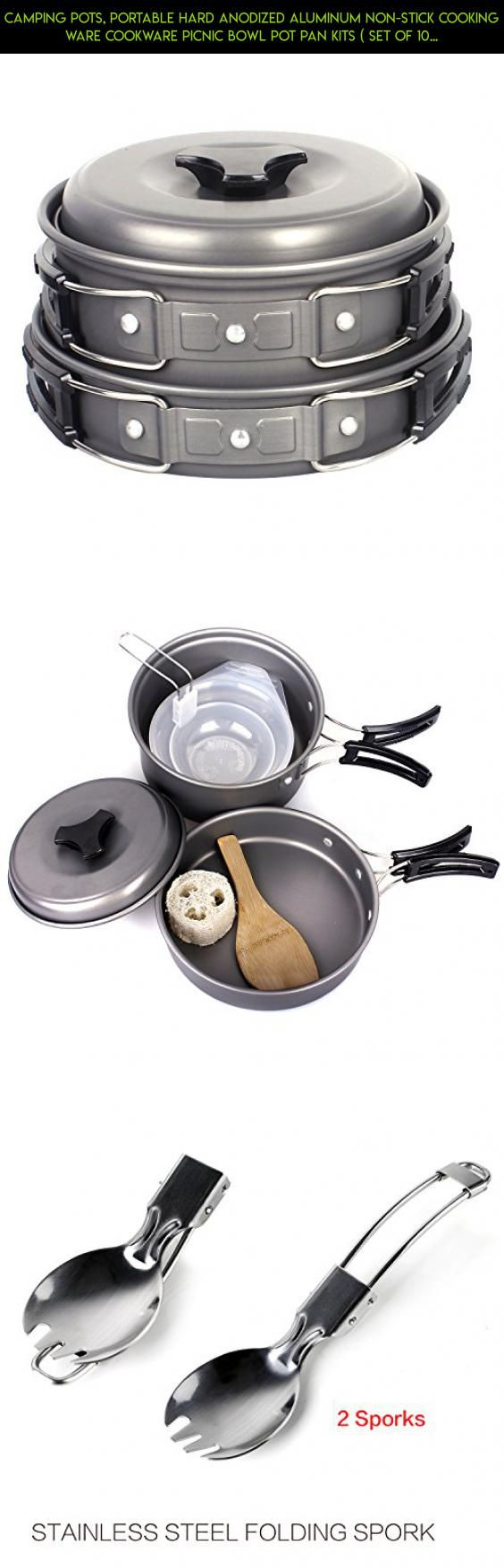 Camping Pots, Portable Hard Anodized Aluminum Non-stick Cooking Ware Cookware Picnic Bowl Pot Pan Kits ( Set of 10 ) #kit #products #plans #gadgets #outdoor #technology #parts #racing #cooking #fpv #ware #tech #drone #shopping #camera