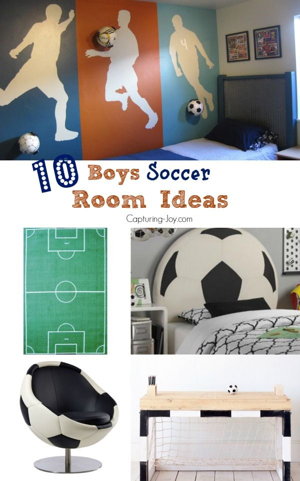 10 Boys Soccer Room Ideas!  From paint ideas to decor to cute soccer themed furniture, great for kids and teens.