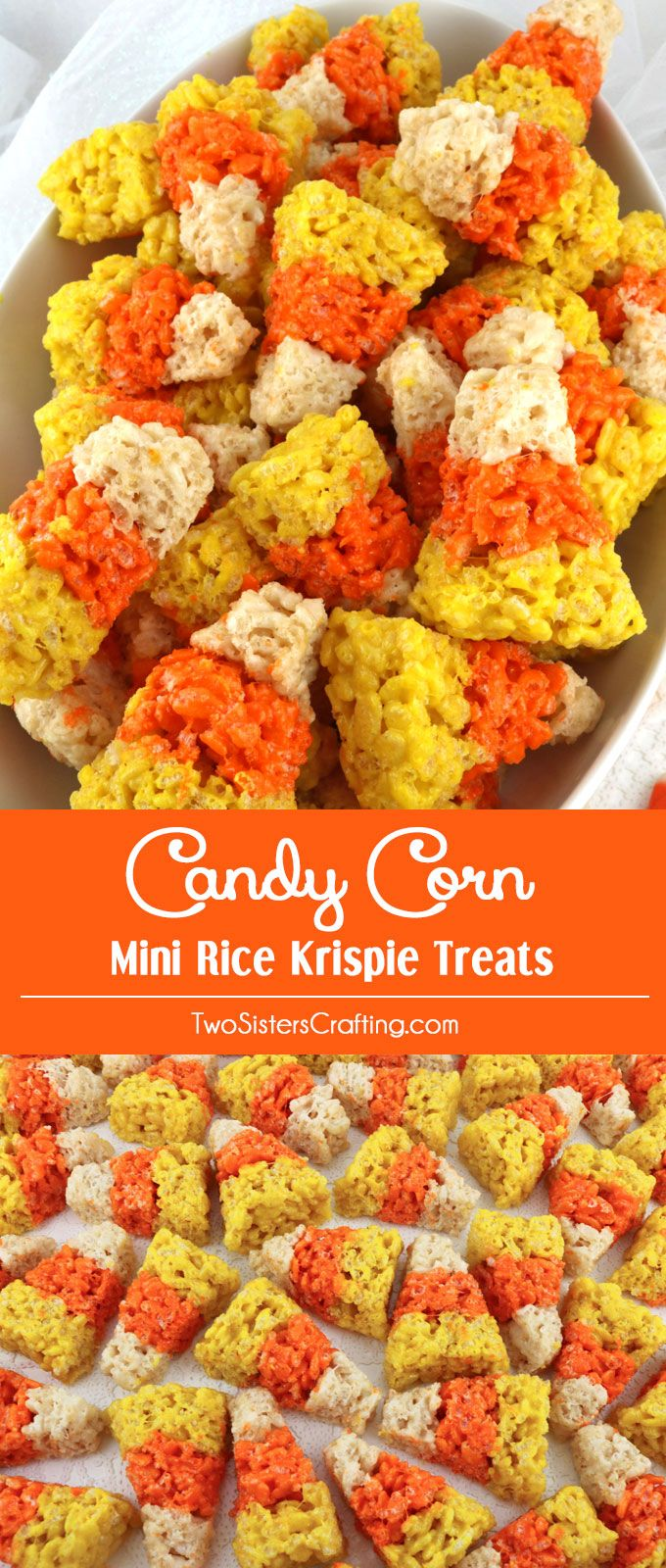 Our colorful and festive Candy Corn Mini Rice Krispie Treats are adorable, delicious - the perfect Halloween dessert. Easy to make, these super cute Candy Corn Treats look just like iconic Halloween Candy Corn. They would be great at a Halloween Party. Pin this delicious Halloween snack for later and follow us for more great Halloween Food Ideas.
