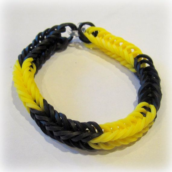 Items Similar To Black And Yellow Bumble Bee Fishtail Rainbow Loom Bracelet Single Jewelry Wristband Rubber Band Bandz Party Favor Friendship Gift On Etsy